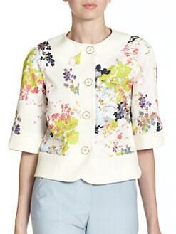 Ted Baker - Floral Bloom-Print Cropped Canvas Jacket
