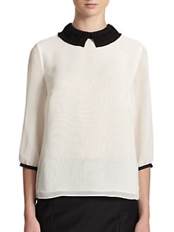 Ted Baker - Contrast-Collar Pleated Blouse