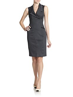 Ted Baker - Mini Check Notched Lapel Sheath Dress