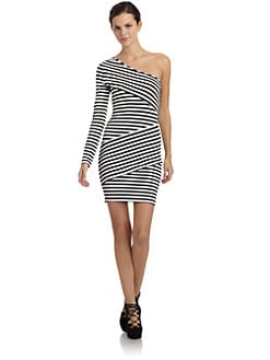 Torn - Olivia Striped One-Shoulder Dress