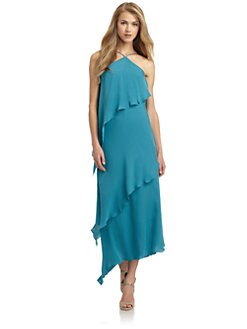 Halston Heritage - Asymmetric Draped Gown/Teal