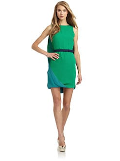 Halston Heritage - Silk Chiffon Belted Sheath Dress