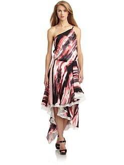 Halston Heritage - Silk Chiffon Watercolor One-Shoulder Gown