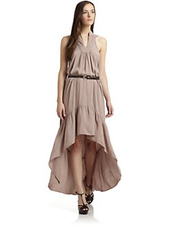 Gypsy 05 - Belted Hi-Lo Silk Dress/Taupe