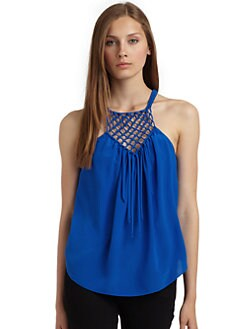 Rebecca Taylor - Macrame Silk Camisole/Blue