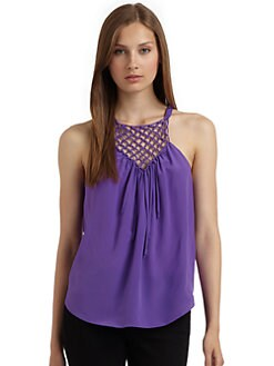 Rebecca Taylor - Macrame Silk Camisole/Purple