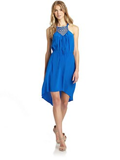 Rebecca Taylor - Silk Macrame Hi-Lo Dress/Blue