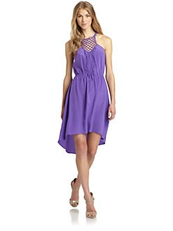 Rebecca Taylor - Silk Macrame Hi-Lo Dress/Purple