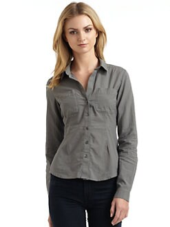 James Perse - Slim Fit Cotton Seersucker Button-Down Shirt