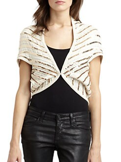 Alice + Olivia - Harlow Cotton Sequin Stripe Shrug