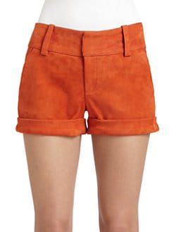 Alice + Olivia - Suede Cady Cuffed Shorts