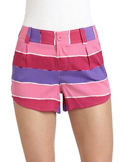 Alice + Olivia - Silk Striped Butterfly Shorts