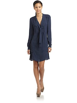 BCBGMAXAZRIA - Serenity Tie-Neck Crepe Dress