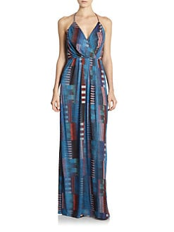 10 Crosby Derek Lam - Abstract Grid-Print Halter Maxi Dress