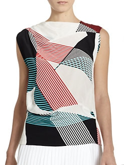 10 Crosby Derek Lam - Abstract Stripe-Print Silk Satin Blouse