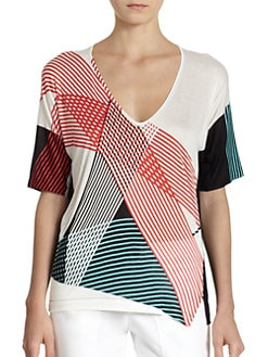 10 Crosby Derek Lam - Abstract Stripe-Print Chiffon-Back Top