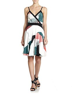 10 Crosby Derek Lam - Abstract Stripe-Print Silk Dress