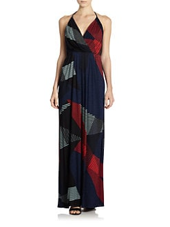 10 Crosby Derek Lam - Abstract Stripe-Print Jersey Halter Maxi Dress