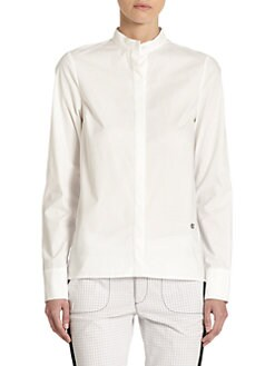 10 Crosby Derek Lam - Pleated Back Mandarin Collar Blouse