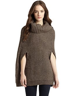 BCBGMAXAZRIA - Harvey Ribbed Knit Cape Sweater