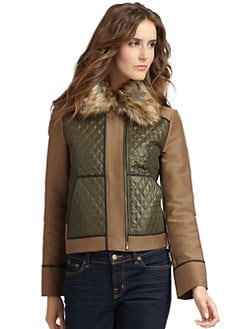 BCBGMAXAZRIA - Aden Faux Fur Collar Quilted Jacket