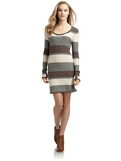 Splendid - Patchwork Stripe Sweaterdress/Grey