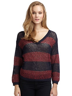 Splendid - Striped Shrunken V-Neck Sweater