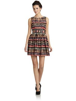 Wren - Silk Tribal Pleated Dress