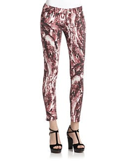 Romeo & Juliet Couture - Printed Denim Pants/Burgundy