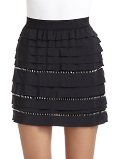 BCBGMAXAZRIA - Silk Tiered Skirt