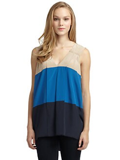 BCBGMAXAZRIA - Silk Colorblock Top