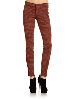 Rich and Skinny - Marilyn Croc-Print Skinny Jeans/Rust