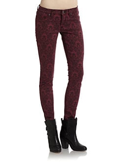 Rich and Skinny - Brocade Print Skinny Jeans/Wine