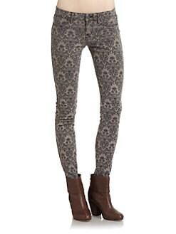 Rich and Skinny - Brocade Print Skinny Jeans/Taupe