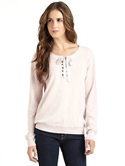 vkoo - Lace-Up Neck Cotton Sweater