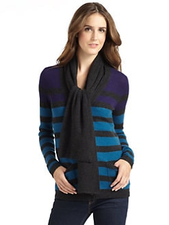 vkoo - Cashmere Striped Tie-Neck Cardigan
