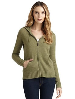 Qi New York - Remi Cashmere Hooded Zip-Up Sweater