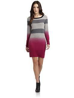 Qi New York - Patterson Cashmere Striped Ombre Sweater Dress