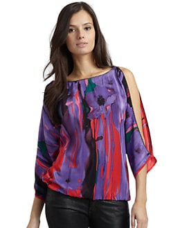 Akiko - Split-Sleeve Floral-Print Silk Top