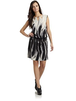 Akiko - Silk Cutout Dress/Feather Print