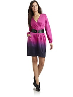 Akiko - Silk Dip Dyed Belted Dress