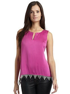 Akiko - Silk Beaded Fringe Hi-Lo Top