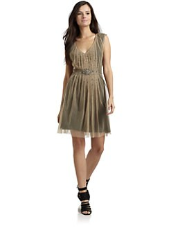 Akiko - Mesh Embellished Pleated Dress