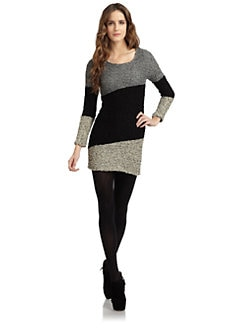 A+RO - Boucle Colorblock Dress/Charcoal