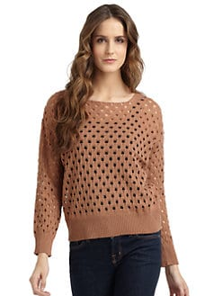 A+RO - Open Weave Crochet Sweater