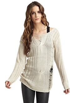 A+RO - Distressed Cable-Knit Tunic Sweater