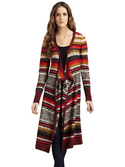A+RO - Long Fair Isle Cardigan/Mulberry