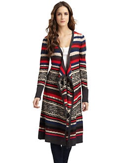 A+RO - Long Fair Isle Cardigan/Ash