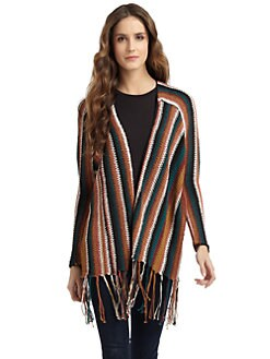 A+RO - Striped Fringe Cardigan