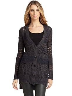 A+RO - Marled Open Weave Long Cardigan